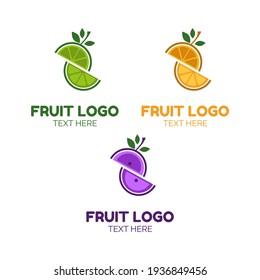 Fruit slice juice logo simple concept design vector illustration