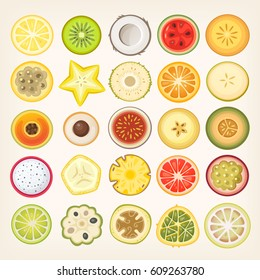 Fruit slices illustrations. Vector fruit and berry cut in halves. Circle shaped healthy food cuts.