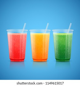 Fruit smoothie and juice in plastic cups.