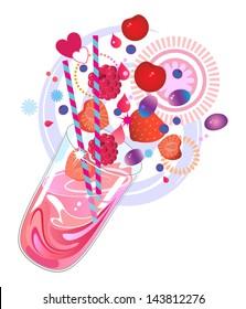 Fruit smoothie or milkshake made with vitamin rich red summer berries