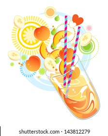Fruit smoothie or milkshake made with vitamin rich yellow fruit
