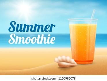 Fruit smoothie on summer beach.