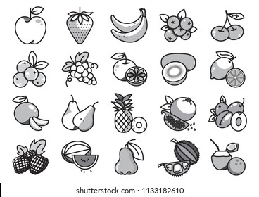 Fruit solid icons, Twenty grey scale fruit solid icons, Vector illustration, Cartoon solid icons, Monotone fruit icons