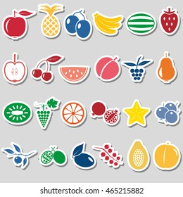 fruit theme color simple stickers icons set eps10