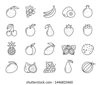 Fruit thin line icon set. Food collection of simple outline signs. Berry symbol in linear style. strawberry, orange, kiwi black contour flat icons design. Isolated on white concept vector Illustration