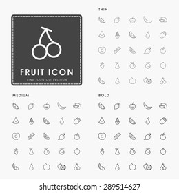 fruit thin, medium and bold line icons