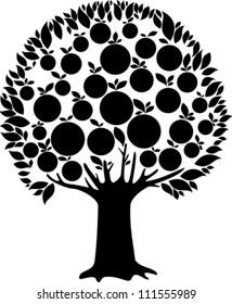 fruit tree isolated on White background. Vector illustration