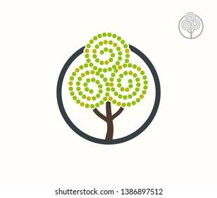Fruit tree isolated vector logo. Apple garden logotype concept. EPS10
