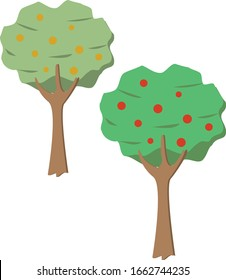 Fruit trees vector apples and oranges