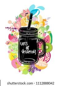 Fruit, useful smoothies, bright colorful illustration