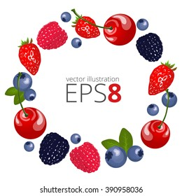 Fruit vector frame. Fruit illustration. Vector colorful background with berries.