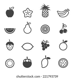 fruit vector icons, mono symbols on white background
