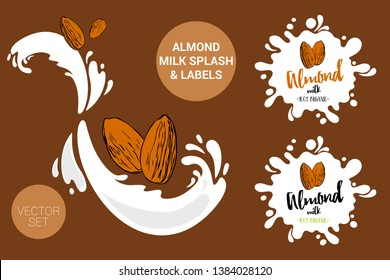 Fruit vector package set of cartoon almonds on milk splashes. Organic nuts labels tags and almond milk text. Colorful nut stickers. Almond milk badges with splash.