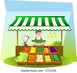 Fruit and veg stall. (the green-grocer is fully drawn)