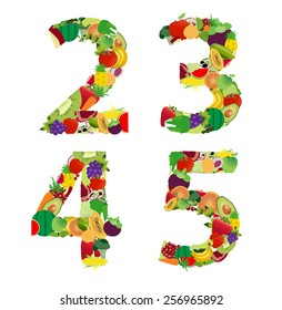Fruit and vegetable alphabet - letter number 2 3 4 5, Vector illustration modern design
