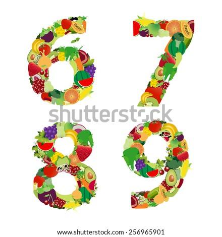 fruit vegetable alphabet letter number 6 stock vector (royalty free