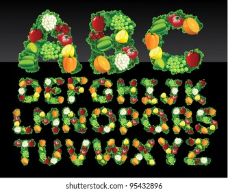 Fruit and vegetable alphabet letters icon symbol set EPS 8 vector, grouped for easy editing. No open shapes or paths.