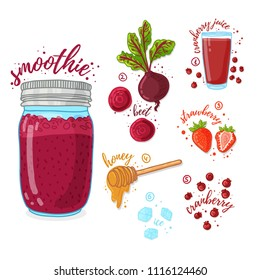 Fruit and vegetable cocktail for healthy life. Smoothies with beet, honey, cranberry and strawberry. Recipe vegetarian organic smoothie in jar. Template recipe card with detox drink for diet. Vector.