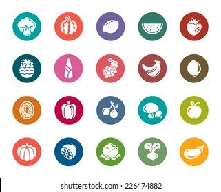 Fruit and Vegetable Color Icons