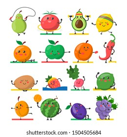 Fruit and vegetable doing sport exercise vector isolated. Food character on fitness workout. Healthy lifestyle.