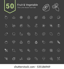Fruit and Vegetable Icon Set. 50 Thin Line Vector Icons.