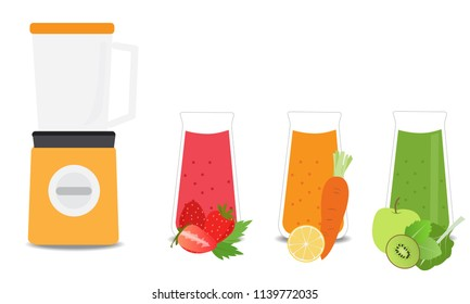 Fruit and vegetable juice vector design.Electronic mixer illustration