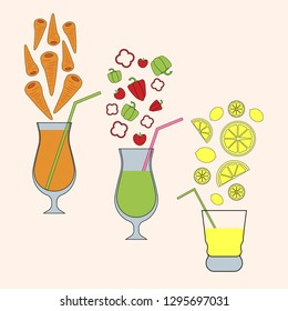 fruit and vegetable juices set. colorful vector illustration