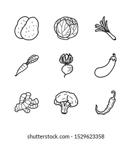 Fruit, Vegetable line icons set vector illustration.  Contains such icon as potatoes, eggplants, carrots, broccoli