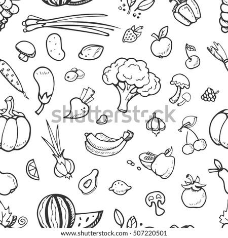 Fruit Vegetable Vegan Food Doodle Sketch Stock Vector Royalty Free