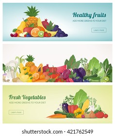 Fruit and vegetables banner set and rainbow composition, healthy food and nutrition concept