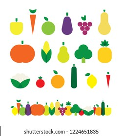 Fruit and Vegetables, Bright, Colorful, Healthy Veg Food Vector Flat Design Icons Symbols