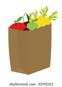 Fruit and vegetables in grocery bag - vector version