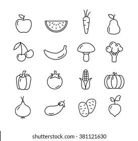Fruit and vegetables icons set - flat design. Healthy lifestyle. Eco, organic fruit and vegetables.