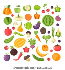 Fruit and vegetables isolated collection set icon. Vector flat graphic cartoon illustration design