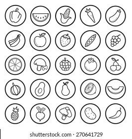 Fruit and vegetables linear icons set. Vector contour lines illustrations isolated on white