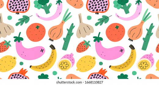 Fruit and vegetables, seamless pattern, hand drawn colorful doodle veggies. Vector texture. Trendy cute illustrations of pepper, banana, pogranate, broccoli. Vegetarian healthy food