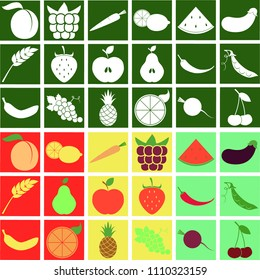 Fruit and Vegetables stylized vegetarian icon set