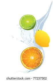 fruit in the water splash