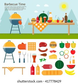 Fruit, wine, barbecue, grill, watermelon on the grass. Summer picnic on meadow under umbrella. Vector flat illustrations for website, mobile, banners, brochures, covers, layouts