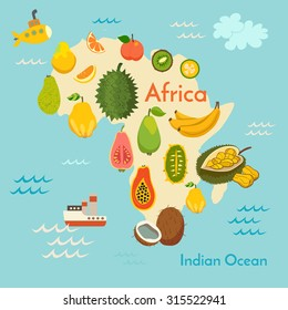 Fruit world map, Africa. Vector illustration, preschool, baby, continents, oceans, drawn, Earth.
