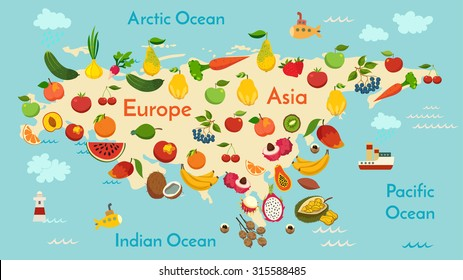 Fruit world map, Eurasia. Vector illustration, preschool, baby, continents, oceans, drawn, Earth.