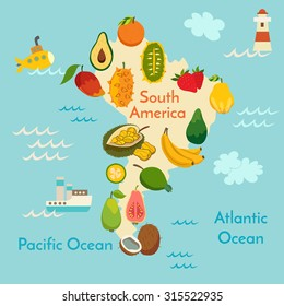 Fruit world map, South America. Vector illustration, preschool, baby, continents, oceans, drawn, Earth.
