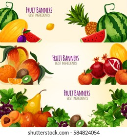 Fruits banners set of vector watermelon and melon, exotic mango and pineapple or kiwi, garden peach or apple and apricot or pear, pomegranate, plum and grape or citrus lemon and orange