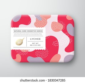 Fruits Bath Cosmetics Box. Vector Wrapped Paper Container with Care Label Cover. Packaging Design. Modern Typography and Hand Drawn Lychee. Abstract Camo Background Pattern Layout. Isolated.