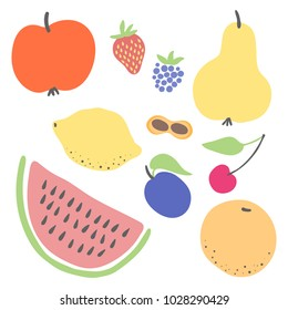 Fruits and berries colorful flat icon vector set