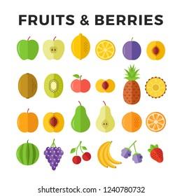 Fruits and berries flat icons. Apple, lemon, pineapple, pear, orange, banana, strawberry etc. Delicious fruits icons and berries. Vector icons set