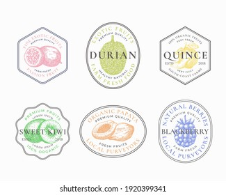 Fruits and Berries Frame Badges or Logo Templates Collection. Hand Drawn Papaya, Kiwi, Durian, Quince and Blackberry Sketches with Typography and Borders. Vintage Premium Emblems Set. Isolated.