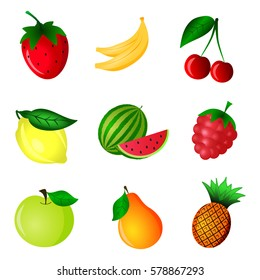 Fruits and berries icons or objects set. Vector illustration on white background