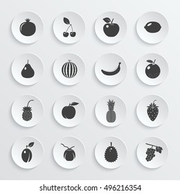 Fruits and berries - icons set. Vector EPS10 illustration.