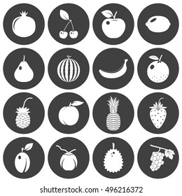 Fruits and berries - icons set. Vector EPS8 illustration.